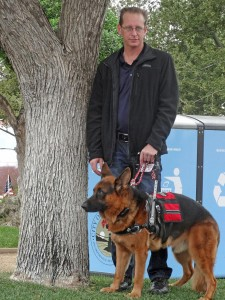 Sean brought his mobility service dog, Hammer, to the November 2014 Veterans photo by Donna Kupke Day Ceremony.