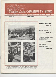 In May 1985, the cover of the Canyon Lake Community News announced the upcoming Fiesta Day activities.