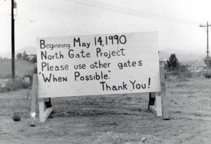 In May 1990, this sign announced improvements to the community's North Gate.