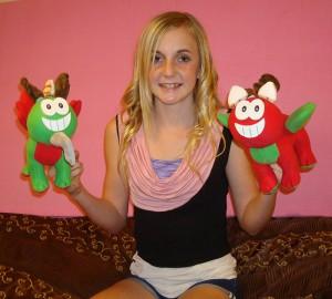 Katarina Mathews shows off her Kreate a Pet toys. photo provided by Richard Mathews