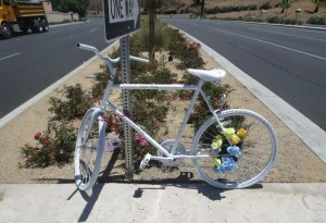 """A """"Ghost Bike"""" was set up as a roadside memorial for Conrad Pasco, a Menifee resident who was killed in a bicycling accident on Railroad Canyon Rd."""