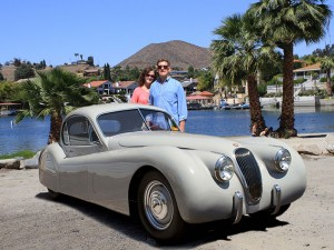Car Club President Joe Landin and his wife Anne are pictured his 1952 Jaguar XK120 coupe. Joe helped found the Canyon Lake Car Show in 2006. Photo by Anthony Ganci.