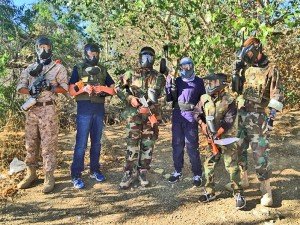 Spencer and his friends spend the day at a local paintball park. Photo provided by Spencer Massicot.
