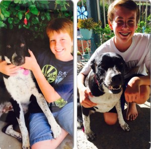 Spencer is shown here with Bea when she first was adopted at 1 year and today at age 5.