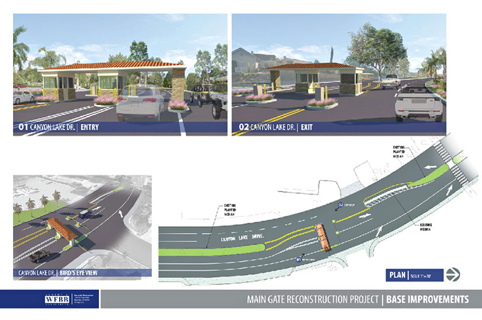 This rendering shows the plan for reconfiguring the Main Gate entry. Four components of the project were approved at Tuesday's meeting – against the wishes of most people who took the microphone to address the Board of Directors. Source: canyonlakepoa.com