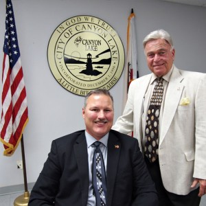 At Wednesday's City Council meeting, it was announced the City has hired former Cal Fire chief and veteran Indio City Councilman Michael Wilson, at left, as the city's temporary fire chief. Council has asked Wilson to guide the City in forming its own department. He is pictured with Canyon Lake Mayor Jordan Ehrenkranz. Photo by Donna Kupke