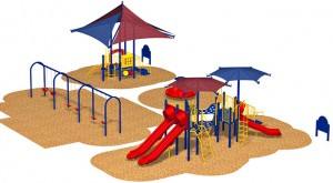 This is a rendering of the playground equipment to be installed at Sierra Park.