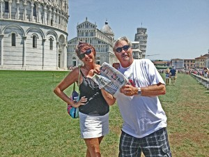 Scott and Gaye, lean with the Leaning Tower of Pisa in Italy.