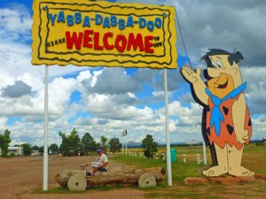 Hans and Linda Weg stopped off at Flintstones Bedrock City in Williams, Arizona, on their way to the Grand Canyon.