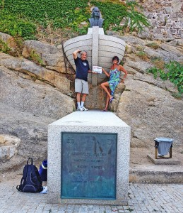 Scott and Gaye stand atop a monument to Christopher Columbus in Calvi, Corsica.