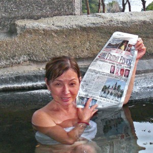 "Carmelita soaks in the hot springs, ""onsen,"" of the luxurious Onsen Resort on Izu Peninsula, Japan."