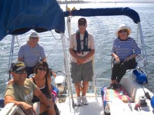 Carl and Donna Calderon, Bob Carnagey, Captain Kirk Ramsey andBonnie Carnagey enjoy a sail on San Diego Bay during the Roadrunners trip to Chula Vista.