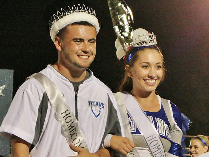 The Temescal Canyon High School Homecoming King and Queen, Canyon Lakers Coby Chatwin and Monica McDonald, were announced at last Friday's football game. Photo by Dylan Reese