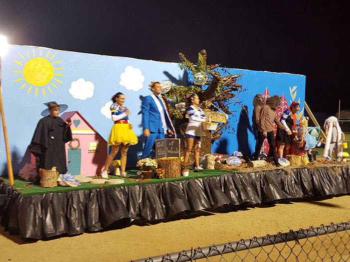 "he sophomore float theme was ""Out of the Woods."""