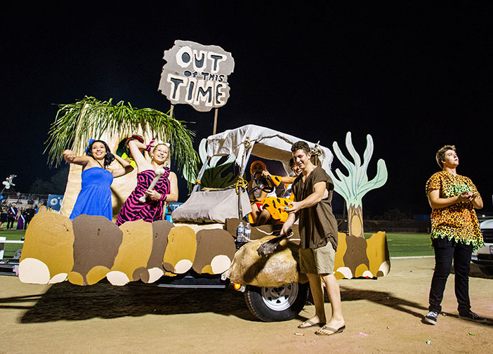 "The seniors had two ""Out of Time"" floats featuring The Flintstones and the Jetsons."