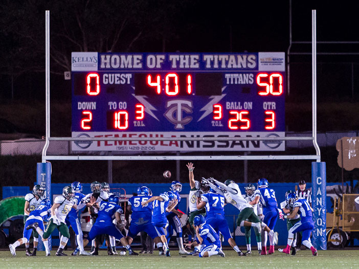 The Titans made their final kick to win the game against Lakeside High School, 51-0.  Photo by Neal Post
