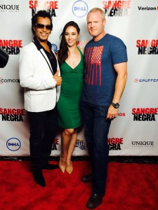 "Bo Linton, at right, is pictured with ""Sangre Negra"" lead actor Antonio McKay, who plays Ricky Santos, and the show's creator, writer and producer Jennifer Field."