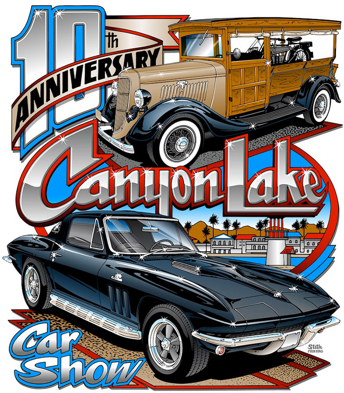 The cars featured in the 2015 Car Show logo are a 1935 Ford Huckster owned by Ted Thompson and a 1966 Corvette owned by Leonard Buote. The logo is by Stith Printing.