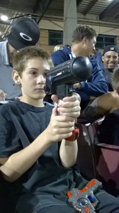 Zane Zander clocks the speed of the baseball pitcher