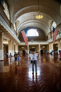 Pat Van Dyke stands in Registry Hall at Ellis Island, where her grandmother, at age 16, along with Pat's great-grandparents, entered the United States. Photos by Pat Van Dyke