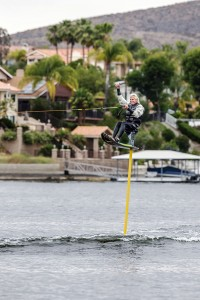 Mike Murphy of Canyon Lake, inventor of Sky Ski, will attempt a Guiness World Record for highest hydrofoil.  Photo by Mike Clary.
