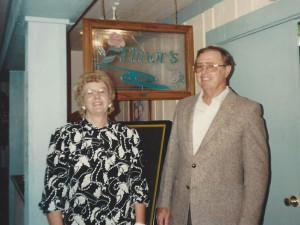 "In November 1990, the Lodge restaurant was named ""Elinor's"" in honor of area pioneer and Canyon Lake resident Elinor Martin, pictured here with her husband Don."