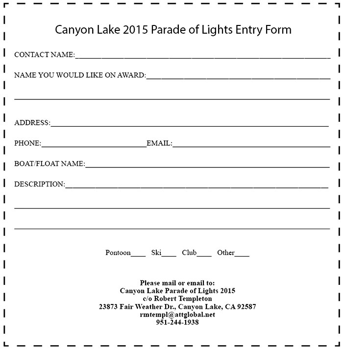 Canyon Lake 2015 Parade of Lights Entry Form