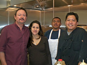 Pete and Ria Riley, at left, reopened The Sports Stop with new head chef Wayne Quintos in February 2011.