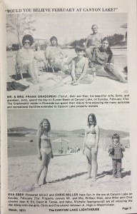 The March 1971 issue of the Lighthouse Magazine featured these families sunbathing at Sunset Beach the previous February 21.