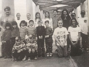 Tuscany Hills Elementary School Principal Colleen Anderson was pictured with some of the eleven sets of twins that were in attendance at THES in 1996.