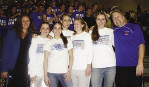 TCHS Girls Basketball was Southwestern League Champ in 2006. Pictured with coaches Cari and Russ Strange are Canyon Lake players Erika Lane, Brittani Libring, Alisha Heglund, Michelle Cleary and Tavea Hampton.
