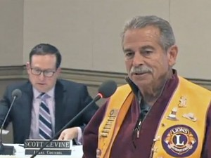 Lions Club member Phil Coughlin was on hand at Tuesday's meeting to accept a plaque from the Board of Directors acknowledging the Lions Club's contribution of the Main Gate fountain monument in 1986. Phil actually helped work on the project at that time.