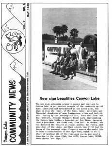 The cover of the May 1986 Community News featured the new Main Gate sign.