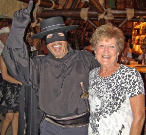 Lou DeYoung is  pictured with Zorro in the town of El Fuere, Mexico.
