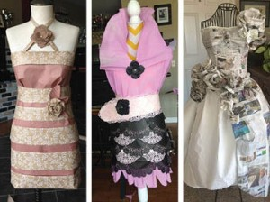 Paper dresses that will be in the Paper Dress Exhibit at the Fashion Show.