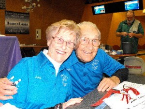 Arlie and Lucille celebrated their 70th wedding anniversary with friends at the bowling alley. Photo by Bert Barbay.
