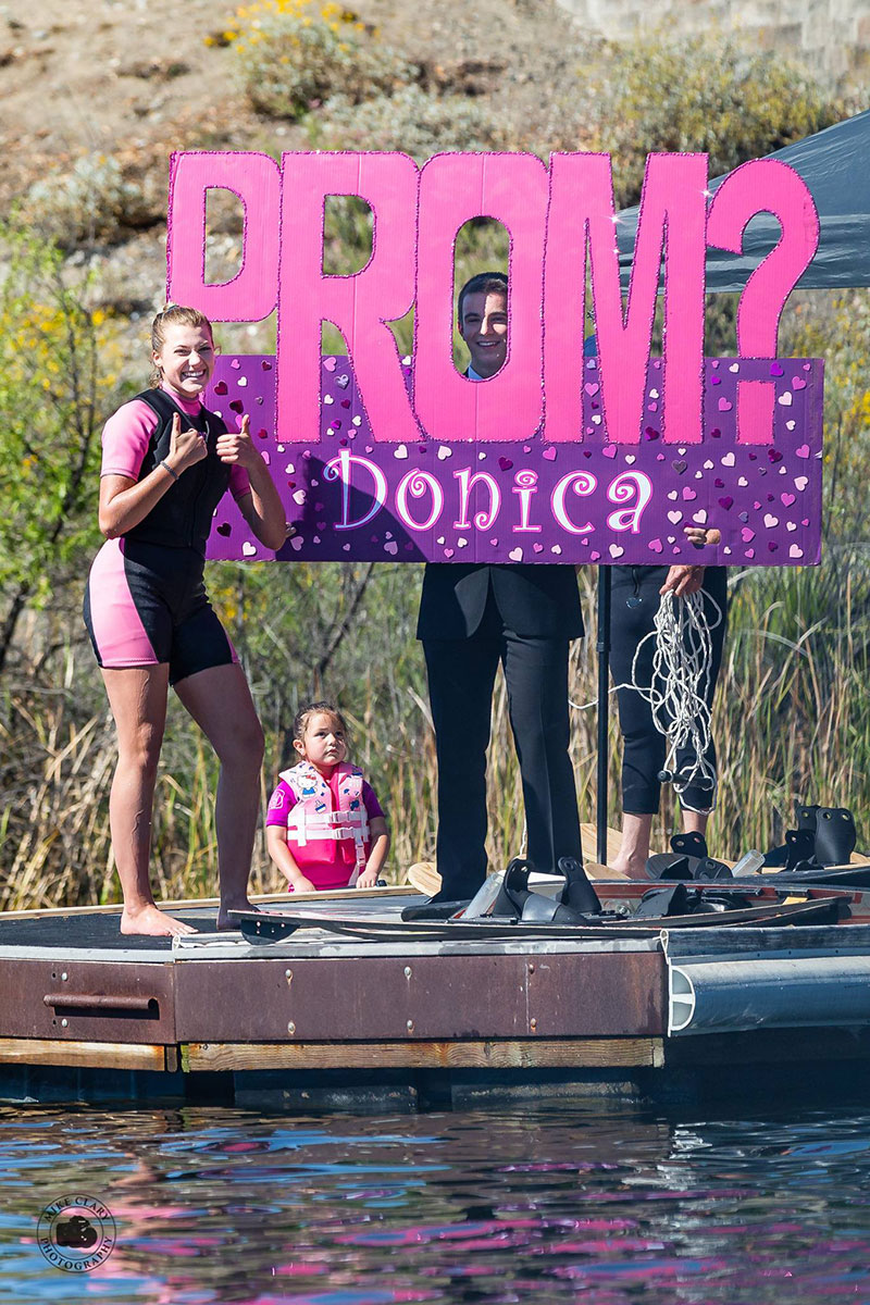 While practicing with ShowCal Skiers, Donica Loney caught sight of Caleb Smeraldi with a giant pink prom invitation. With a thumbs up and huge smile, she accepted! Photos by Mike Clary