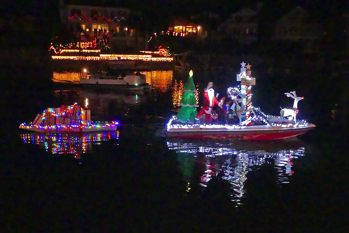 "1st Place Ski Boat: ""Santa's Village"" by Ron and Donna Kupke. Photos by Bert Barbay."