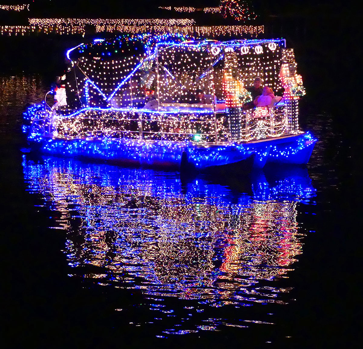 """1st Place Pontoon Boat:""""Fun Old-Fashioned Christmas"""" by Jeremy Cassara. Photos by Bert Barbay."""