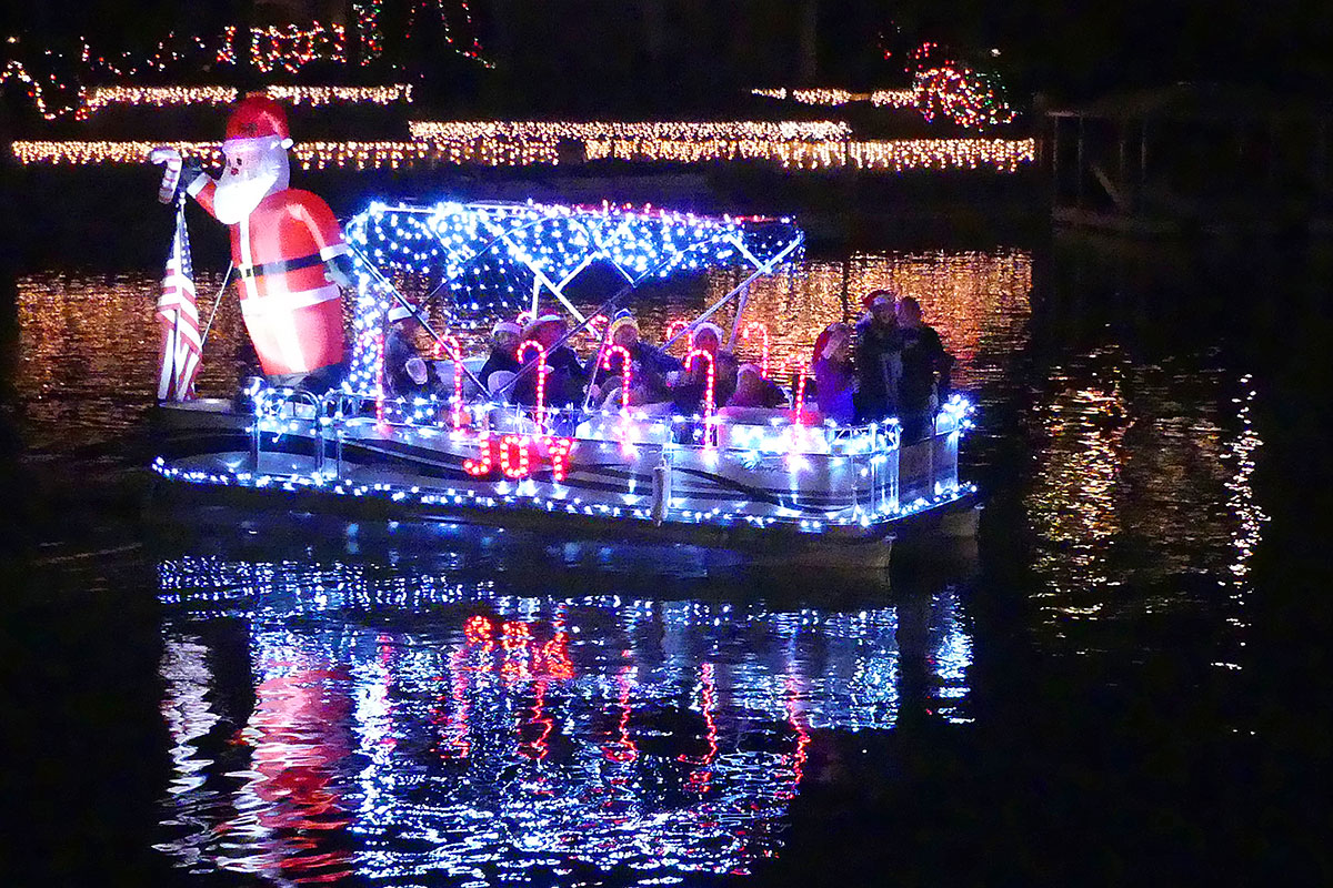 "2nd Place Pontoon Boat: ""Candy Cane Express"" by Ryan Paschal. Photos by Bert Barbay."