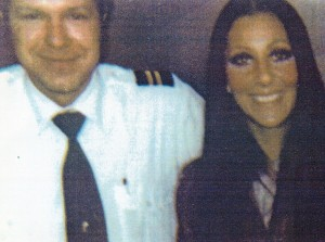 As flight engineer for Northrop's charter jet, Bob flew business executives and celebrities around the world. He is pictured with one of his first commercial customers, Cher, in 1972.