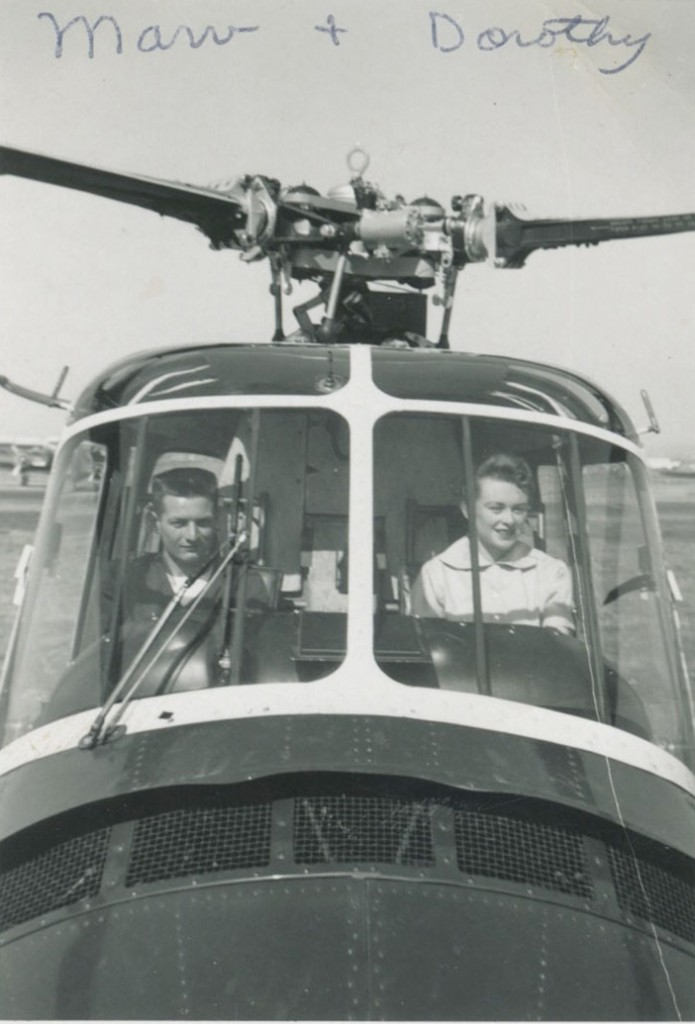 As a young man, Marvin Griswold worked for a small helicopter airline that flew air mail throughout the Los Angeles basin. He wasn't the pilot, but he did learn how to fly. Here, he and his wife Dorothy are pictured in the cockpit of the small Sikorsky helicopter.