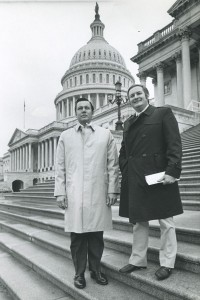 Marvin Griswold, at right, is pictured with associate Dennis Johnson on the steps of the U.S. Capitol following Marv's testimony before Congress in opposition to the deregulation of the airline industry.