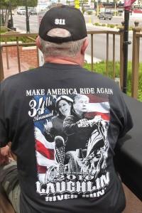 Hans Weg got a souvenir T-shirt at the Laughlin River Run.