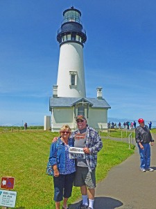 Hans and Linda Weg visited a couple of lighthouses and several beaches while in Oregon. They also took a few side excursions, including the Tillamok Cheese Factory.