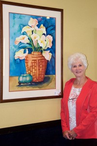 Christy Bruce is the artist who currently has works in watercolor and oil on display at Pepe's Restaurant.