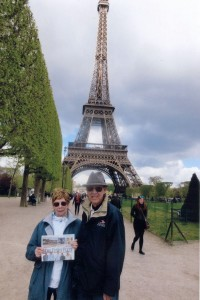 Joyce and Ken Dettling pose in front of the the Eiffel Tower in Paris and in front of Big Ben in London.