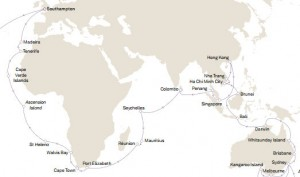 David journaled their cruise in three legs: Sydney, Australia to Hong Kong; Hong Kong to Cape Town, South Africa; and Cape Town to Southampton, England.