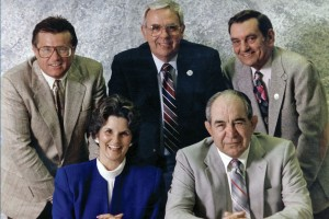 "Charter City Council members in 1991 were, clockwise from left,  John Giardinelli, Jack Wamsley, Gene Bourbonnais, Al ""Bill"" Trembly and Annabelle Bates."