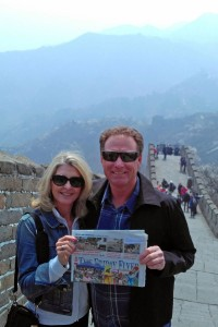 Tammy and Jack Smith stand on the Great Wall of China in Beijing